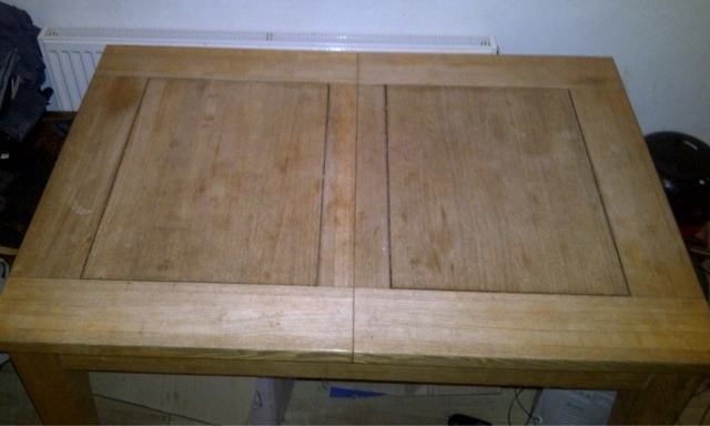Oak table before refinishing